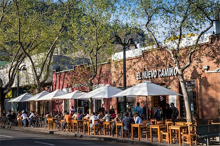 Outdoor Restaurants along Pio Nono Street, Bellavista District, Santiago, Chile Stock Photo - Rights-Managed, Code: 700-07237734