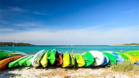 Canoes on Piantarella Beach, Bonifacio, Corsica, France Stock Photo - Rights-Managed, Code: 700-07237874
