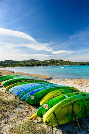 Canoes on Piantarella Beach, Bonifacio, Corsica, France Stock Photo - Rights-Managed, Code: 700-07237875
