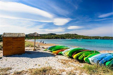 Canoes on Piantarella Beach, Bonifacio, Corsica, France Stock Photo - Rights-Managed, Code: 700-07237873