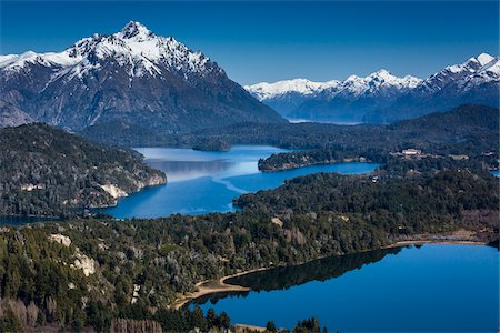Scenic overview of Bariloche and the Andes Mountains, Nahuel Huapi National Park (Parque Nacional Nahuel Huapi), Argentina Stock Photo - Rights-Managed, Code: 700-07237946
