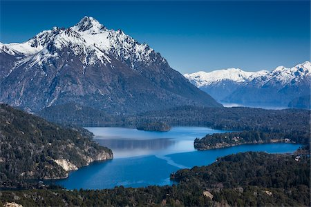 Scenic overview of Bariloche and the Andes Mountains, Nahuel Huapi National Park (Parque Nacional Nahuel Huapi), Argentina Stock Photo - Rights-Managed, Code: 700-07237947