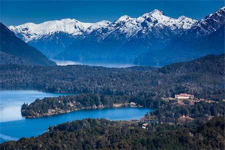 Scenic overview of Bariloche and the Andes Mountains, Nahuel Huapi National Park (Parque Nacional Nahuel Huapi), Argentina Stock Photo - Rights-Managed, Code: 700-07237948