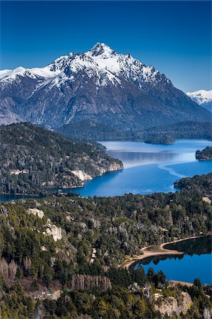 Scenic overview of Bariloche and the Andes Mountains, Nahuel Huapi National Park (Parque Nacional Nahuel Huapi), Argentina Stock Photo - Rights-Managed, Code: 700-07237949