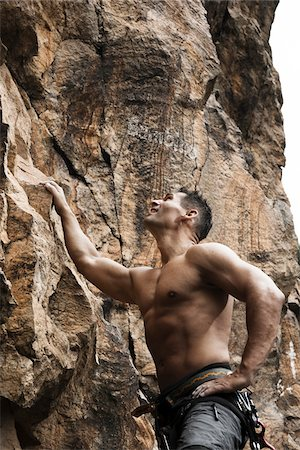 Mature Man Rock Climbing, Schriesheim, Baden-Wurttemberg, Germany Stock Photo - Rights-Managed, Code: 700-07238120