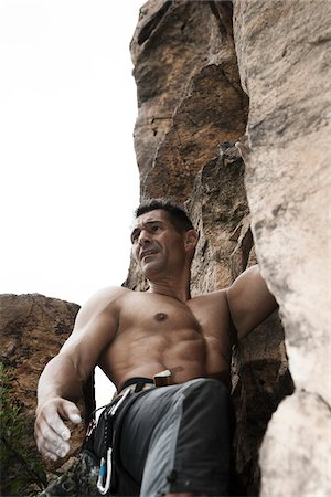 rock climber - Mature Man Rock Climbing, Schriesheim, Baden-Wurttemberg, Germany Stock Photo - Rights-Managed, Code: 700-07238121