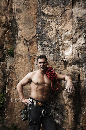 Mature Man Rock Climbing, Schriesheim, Baden-Wurttemberg, Germany Stock Photo - Rights-Managed, Code: 700-07238122
