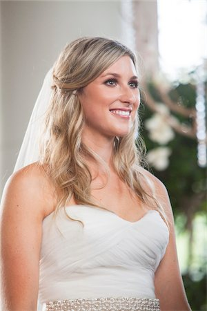 pretty - Close-up portrait of Bride smiling, Canada Stock Photo - Rights-Managed, Code: 700-07232324