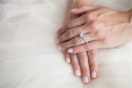 ring hand woman - Close-up of Bride's Hand with Diamond Engagement Ring Stock Photo - Rights-Managed, Code: 700-07278723