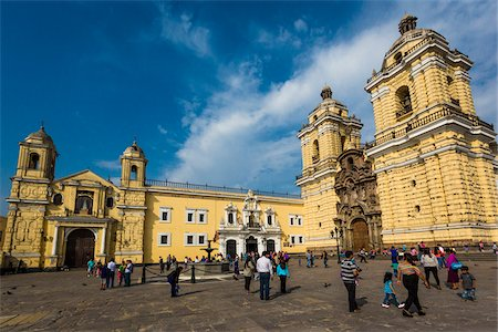 peru and culture - View of people and grounds in front of San Francisco Church and Convent, Lima, Peru Stock Photo - Rights-Managed, Code: 700-07279054