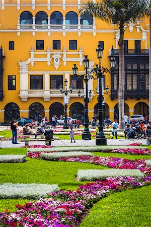 peru and culture - People in public garden at Plaza de Armas, Lima, Peru Stock Photo - Rights-Managed, Code: 700-07279056