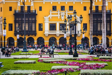 peru and culture - People in public garden at Plaza de Armas, Lima, Peru Stock Photo - Rights-Managed, Code: 700-07279057