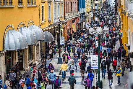 peru and culture - Shoppers along Union Street near Plaza Mayor (Plaza de Armas), Lima, Peru Stock Photo - Rights-Managed, Code: 700-07279059