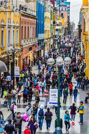 peru and culture - Shoppers along Union Street near Plaza Mayor (Plaza de Armas), Lima, Peru Stock Photo - Rights-Managed, Code: 700-07279060