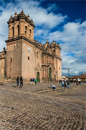 peru and culture - Cathedral of Santo Domingo with people and cobblestone street, Cusco, Peru Stock Photo - Rights-Managed, Code: 700-07279074