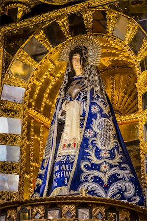 Close-up of altar with statue of Virgin Mary at Cathedral of Santo Domingo, Cusco, Peru Stock Photo - Rights-Managed, Code: 700-07279079