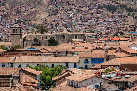 peru and culture - Overview of houses with tile rooftops, Cusco, Peru Stock Photo - Rights-Managed, Code: 700-07279071