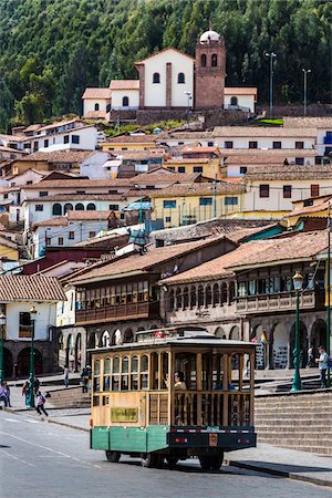 Trolley bus at Plaza de Armas and houses in background, Cusco, Peru Stock Photo - Rights-Managed, Code: 700-07279087