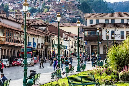 peru and culture - People on city street and buildings at Plaza de Armas, Cusco, Peru Stock Photo - Rights-Managed, Code: 700-07279088