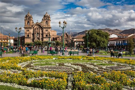 peru and culture - Overview of gardens at Plaza de Armas with Church of the Society of Jesus, Cusco, Peru Stock Photo - Rights-Managed, Code: 700-07279081