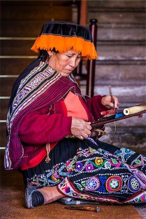 peru and culture - Portrait of Peruvian woman weaving wearing traditional costume, Cusco, Peru Stock Photo - Rights-Managed, Code: 700-07279099