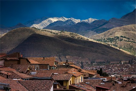 Scenic view of mountains and rooftops of homes, Cusco, Peru Stock Photo - Rights-Managed, Code: 700-07279104