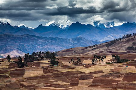 Scenic overview of farms and mountains near Chinchero, Sacred Valley of the Incas, Peru Stock Photo - Rights-Managed, Code: 700-07279106