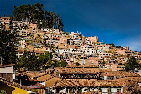 peru and culture - View of rooftops of homes and mountain, Cusco, Peru Stock Photo - Rights-Managed, Code: 700-07279102