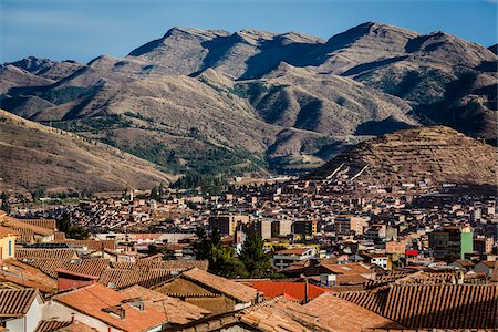 peru and culture - Scenic view of mountains and rooftops of homes, Cusco, Peru Stock Photo - Rights-Managed, Code: 700-07279103