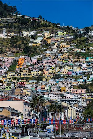 Buildings on Hillside, Historic Centre of Quito, Ecuador Stock Photo - Rights-Managed, Code: 700-07279265
