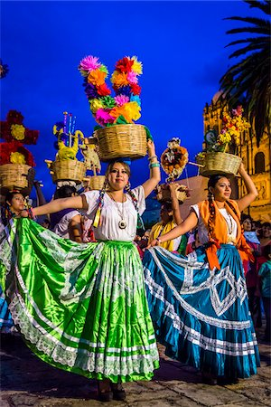 Dancers at Day of the Dead Festival Parade, Oaxaca de Juarez, Oaxaca, Mexico Stock Photo - Rights-Managed, Code: 700-07279332
