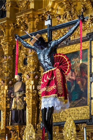 Jesus Christ on Crucifix in Mexico City Metropolitan Cathedral, Mexico City, Mexico Stock Photo - Rights-Managed, Code: 700-07279459
