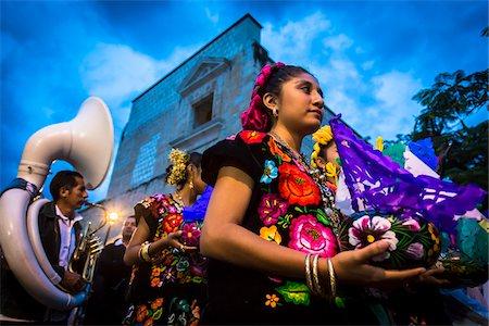 Dancers at Day of the Dead Festival Parade, Oaxaca de Juarez, Oaxaca, Mexico Stock Photo - Rights-Managed, Code: 700-07279532