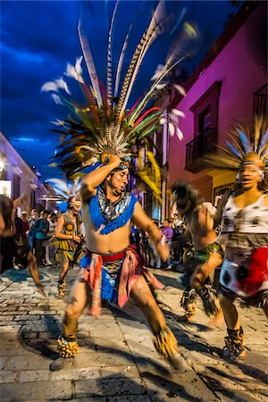 Indigenous Dancers at Day of the Dead Festival Parade, Oaxaca, Mexico Stock Photo - Rights-Managed, Code: 700-07288126