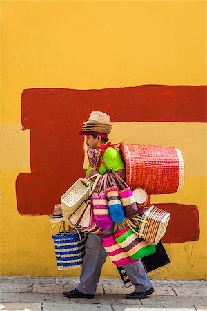 Basket and Hat Seller, Oaxaca de Juarez, Oaxaca, Mexico Stock Photo - Rights-Managed, Code: 700-07288167