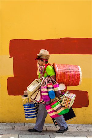 Basket and Hat Seller, Oaxaca de Juarez, Oaxaca, Mexico Stock Photo - Rights-Managed, Code: 700-07288167