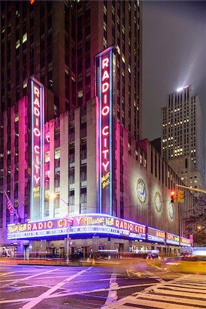 Radio City Music Hall illuminated at night, Rockefeller Center, Midtown, Manhattan, New York City, New York, USA Stock Photo - Rights-Managed, Code: 700-07310307