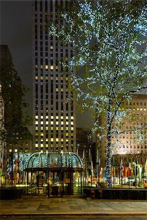 restaurant new york manhattan - Rockefeller Center at night, Midtown, Manhattan, New York City, New York, USA Stock Photo - Rights-Managed, Code: 700-07310312