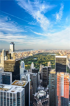 Overview of Central Park and Uptown skyline, from Top of the Rock Observation Deck, Rockefeller Center, Midtown, New York City, New York, USA Stock Photo - Rights-Managed, Code: 700-07310324