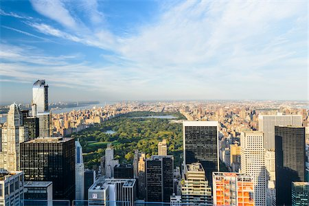 Overview of Central Park and Uptown skyline, from Top of the Rock Observation Deck, Rockefeller Center, Midtown, New York City, New York, USA Stock Photo - Rights-Managed, Code: 700-07310323