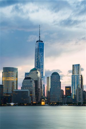 Close-up view of Lower Manhattan skyline with One World Trade Center at sunrise, from Jersey City, Manhattan, New York City, New York, USA Stock Photo - Rights-Managed, Code: 700-07310335