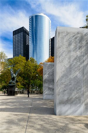 Battery Park, Naval Memorial (with the names of sailors killed in action during World War II) and buildings from the Financial District in background, Manhattan, New York City, New York, USA Stock Photo - Rights-Managed, Code: 700-07310874