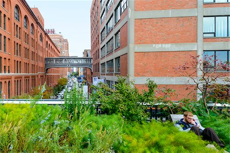 Close-up view of the High Line Elevated Park, (a public park built on an historic freight rail line elevated above the streets on Manhattan's West Side), Meatpacking District, Chelsea, Manhattan, New York City, New York, USA Stock Photo - Rights-Managed, Code: 700-07310927