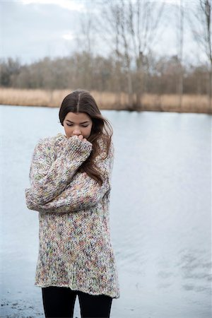 sweater - Portrait of Young Woman by Lake, Mannheim, Baden-Wurttemberg, Germany Stock Photo - Rights-Managed, Code: 700-07355330