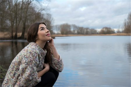 Portrait of Young Woman by Lake, Mannheim, Baden-Wurttemberg, Germany Stock Photo - Rights-Managed, Code: 700-07364037