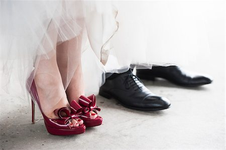 Close-up of Bride and Groom's Shoes Stock Photo - Rights-Managed, Code: 700-07363855