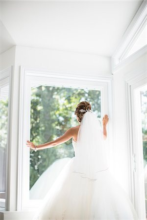 Portrait of Bride looking out Window, Toronto, Ontario, Canada Stock Photo - Rights-Managed, Code: 700-07435024