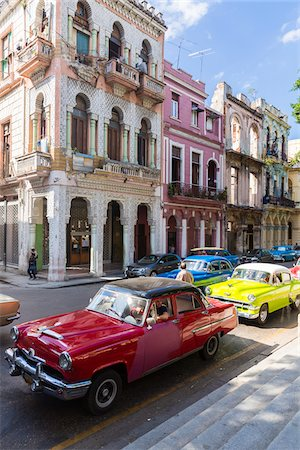 Vintage cars on the street in front of colonial architecture, Havana, Cuba, UNESCO Word Heritage Site Stock Photo - Rights-Managed, Code: 700-07453777