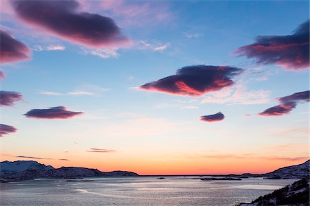 Scenic view of Sunset at a fjord in the Arctic, Norway Stock Photo - Rights-Managed, Code: 700-07453791