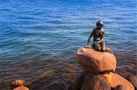 A statue of The Little Mermaid, Copenhagen, Denmark, Europe Stock Photo - Rights-Managed, Code: 700-07487322
